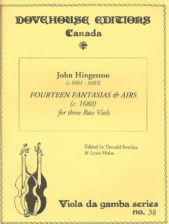 14 Fantasias and Airs for 3 bass viols score and parts