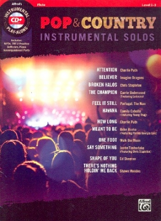 Pop & Country Instrumental Solos (+MP3-CD) - for flute with printable piano accompaniment