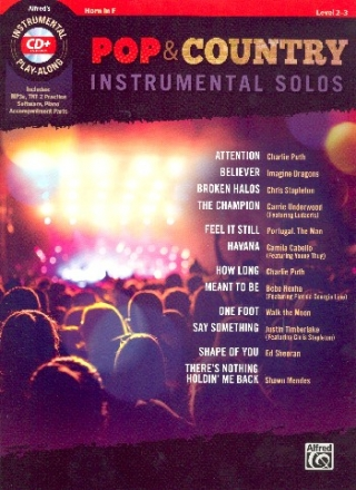Pop & Country Instrumental Solos (+MP3-CD) - for horn in F with printable piano accompaniment