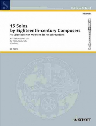 15 Solos for treble recorder by masters of the 18th century
