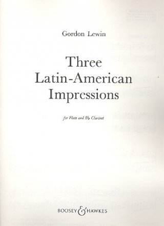 3 Latin American Impressions for flute and clarinet score