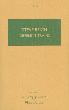 Different Trains for string quartet and pre-recorded tape study score