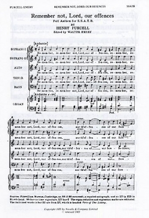Remember not Lord our offences Full anthem for mixed chorus (SSATB) and organ