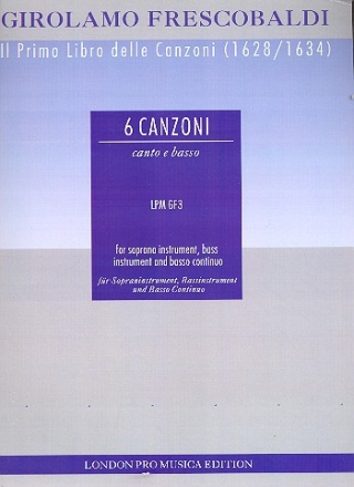 6 canzonas for treble instrument, bass instrument and basso continuo parts