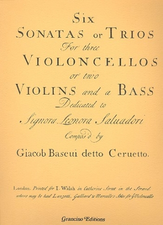6 Sonatas or trios for 2 violoncellos or 2 violins and a bass facsimile