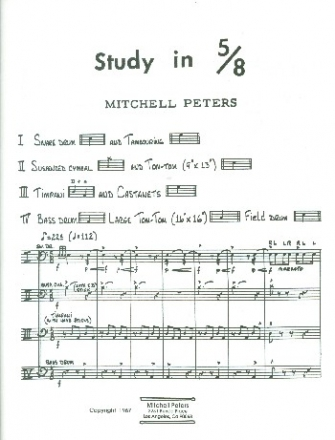 Study in 5/8 - for percussion quartet score and parts