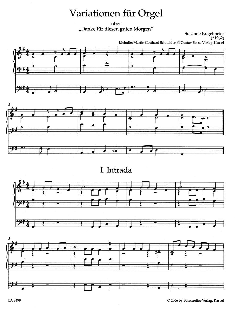 Variationen über Danke Für Diesen Guten Morgen Für Orgel
