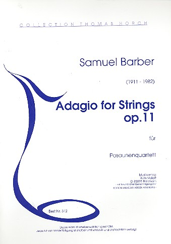 Adagio for strings op.11 - für 4 Posaunen Stimmen Collection Thomas Horch