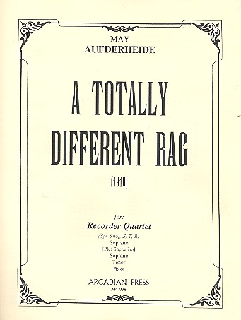 A totally different Rag - for recorder quartet (s+sno,stb), score+parts (1910)