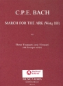 March for the Ark (Wq188) - for 3 trumpets and timpani (4th trumpet ad lib) score and parts