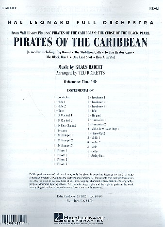 Pirates of the Caribbean vol.1 (Medley) - for concert band score (conductor)