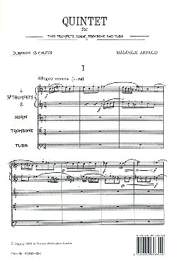 Quintet for 2 trumpets, horn, trombone and tuba score
